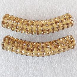El Rhinestone cristalino curvado libre del tubo del envío 5Pcs 47x10m m pavimenta la joyería cabida de la joyería de Diy de los granos del conectador de la pulsera desde conector de tubo de pulsera proveedores
