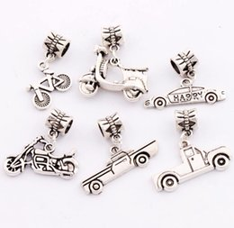 Wholesale 90pcs styles Antique Silver Motorcycle Bike Bicycle Truck Big Hole Charm Beads Fit European Bracelets Jewelry DIY BM5