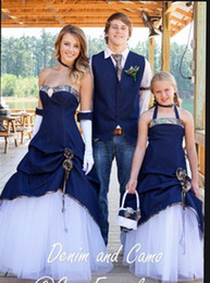 Unique Strapless Sweetheart Camouflage Bridal Gowns Navy Blue Camo Wedding Dresses 2016 robe longue New Style