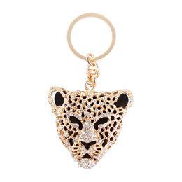 Wholesale 2016 Hot Fashion Leopard Head Pendant Charm Chain Crystal Set Auger Purse Bag Key Chain Auto Accessories Send Boy Friend Creative Gift