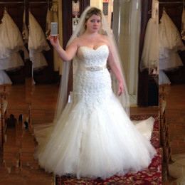 Plus Size Wedding Dresses Mermaid 2017 Sweetheart Lace Appliqued Beaded Bridal Gowns With Sash Lace Up Tulle Long Maxi Big Size Brides Dress