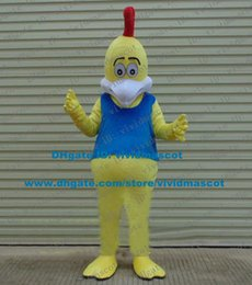 Wholesale Tactful Yellow Cock Rooster Hen Chicken Chook Mascot Costume Cartoon Character Mascotte Adult White Mouth Fat Belly ZZ1702 FS
