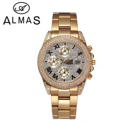 dessus de bracelet Promotion Business Casual Quartz Wristwatch Top Fashion Marque Unisex Calendrier Mens Watch IPG Doré Acier inoxydable Crystal Water Proof