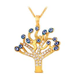 Evil Eye Pendants Tree of Life 18K Real Gold Plated Rhinestone Women Choker Chain Necklaces & Pendants Jewelry P235