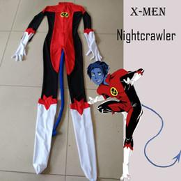 X-Men Nightcrawler Kurt Wagner Superhero Male Costume Red Lycra Spandex Catsuit Halloween Mens