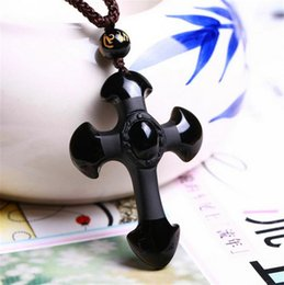 Wholesale Natural Obsidian Pendant Cross Necklace Advanced Technical Black Cross with Obsidian Necklace with Individual Package CM
