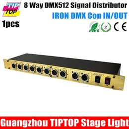 Wholesale 8 Way DMX Signal Distributor Led Stage Lighting Control Road Distribution Amplifier Gold Color Iron DMX Con independent Power Supply