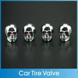Wholesale 4Pcs Aluminum Car Universal Tire Tyre Wheel Round Rims Valve Electroplate Cap Skull Styling For Motorcycle Truck Bicycle