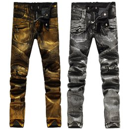 2016 New Fashion Mens Biker Jeans Gold Silver Slim Fit Skinny Moto Motorcycle Denim Jean Pants Trousers For Men