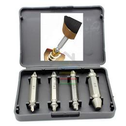 Promotion forets en métal Guide Bits 4pcs / Case HSS Double Side Screw Extractor Centre Drill Set Cassé Endommagé Bolt Remover Speed Removal Easy Out Set pour $ tra 18Personne
