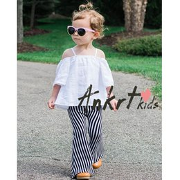 Wholesale Ins New Fashion Baby Boy Girl Pants Black White Stripe Cotton Flare Pant Children Clothing T Only Include Pant
