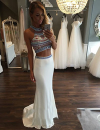 Two Pieces Dresses Evening Wear With Halter Neck Beaded Sweep Train Sexy Junior Long Mermaid Prom Dress For Women Formal Party