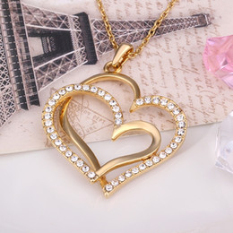 Hot sale brand new 24k 18k yellow gold heart Pendant Necklaces jewelry GN584 hot sale Free shipping fashion gemstone crystal necklac
