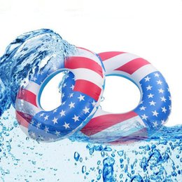 Wholesale Adult Swimming Ring American Flag Print Swim Inflatable Pool Floats Tube Life Buoy Water Sports Toys LJJG440