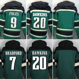 Wholesale Eagles hoodies cheap football jerseys hoody sweatshirts Philadelphia DAWKINS JAWORSKI FOLES dark green drop freeshipping