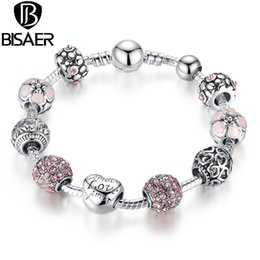 Wholesale 925 Silver Charm Bead fit European Pandora Bracelets Bangle for Women Love Flower Crystal Ball Chain Link Pulseras Fashion Jewelry