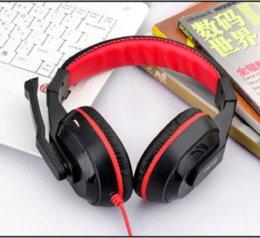Wholesale Cheap Earphone Plugs - Gaming Game Stereo Headphones Headset Earphone PC Laptop KANGLING 770 Black Plaited wire Cheap laptop plug