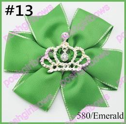 free shipping 120pcs 4.5'' pinwheel hair bows crown girl hair clips rhonestone toddle hair bows baby gift hair clips