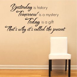 Wholesale Art Yesterday Is History Art Quote Paper Removable Wall Sticker Decal Home Living Room Bedroom Wallpaper DIY Decor