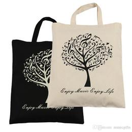 Hot Selling Cotton Handbag Cotton Bag Shopping bags 2pcs Music Tree Cotton Bag- Black and Beige