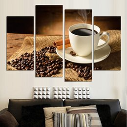Wholesale NO FRAME CANVAS ONLY pieces wall pictures coffee and beans on the desk home decoration art for dinning room