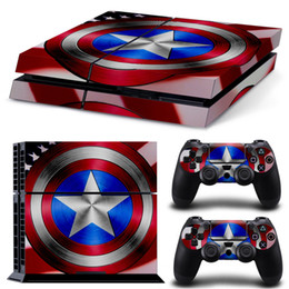 Captain America PS4 Skin Stickers Protector For Sony PlayStation 4 Console and 2 PCS Vinyl Skin Stickers of PS4 Controllers