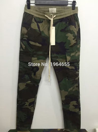 Wholesale Top kanye west camo jogging pants justin bieber fear of god fog camouflage trousers outdoor joggers men ykk side zipper pants