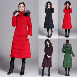 Wholesale Fashion Red Black Women s Down Coat Hooded Womens Outerwear Fast Shipping Winter Warm Clothing Womens Long Down Parkas