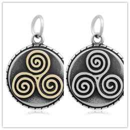 Wholesale Spiral Charm Necklace - 20pcs lots Stainless Steel Celtic three spiral Charms For Alex and Ani Style expandable wire bangles European Bracelets Necklace