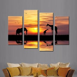 Wholesale 4 Picture Combination Wall Art Silhouette Elephant And Giraffes On Riverside In The Sunset Painting Canvas Print Animal For Home Modern