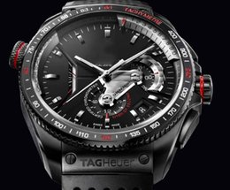 Wholesale Fashion Brand Tag Auto Watch For Men Carrera Silicion Skeleton Black Dial Silver Case Rubber Band Heuerwatch Hkpost