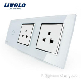 Livolo New Style Outlet, US Standard Socket, White Crystal Glass Socket Panel, Luxury Wall Power Sockets with Touch Switch