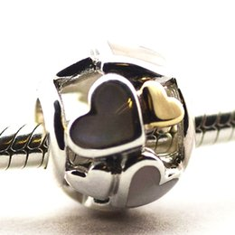 14K Gold Heart and Mother of Pearl 100% 925 Sterling Silver Beads Fit Pandora Charms Bracelet Authentic DIY Fashion Jewelry