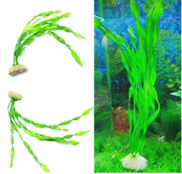Wholesale Aquarium Aquatic Plant Long Green Grass Fish Tank Decoration Designed with a ceramic base for steady stand