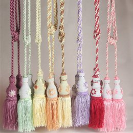 Wholesale Hanging Curtain Tieback for Window Decoration Stripe Design Polyester Rope Elegant Tassel Curtain Tieback for Bedroom