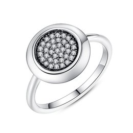 Real 925 Sterling Silver Signature Pave Round Rings with Clear Cubic Zirconia Glorious Engagement Wedding Rings R090