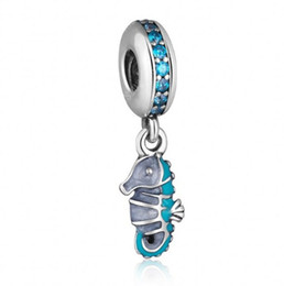 Wholesale Tropical Seahorse Dangle Charm Beads Fits Pandora Bracelet Sterling Silver Teal Green CZ Animal Bead DIY Summer Fine Jewelry HB555