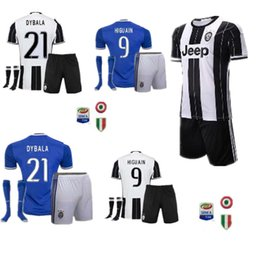 Wholesale A high quality16 Adult Kits Juventus home and away Rugby Jerseys HIGUAIN Pogba DYBALA PJANIC MARCHISIO football Je