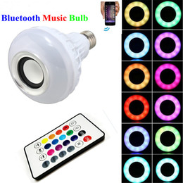 Wholesale Wireless bluetooth W LED speaker bulb Audio Speaker E27 RGBW music playing Lighting With Keys IR remote Control