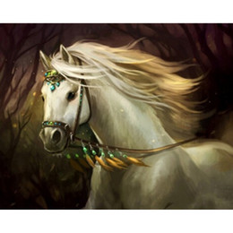 White and black Horse Diy 3d Diamond Painting resin Canva Embroidery Resin hobbi Craft Home Decor Animals 50x40cm HWB-637