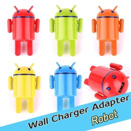 Wholesale Universal A Lovely Robot Traval USB Charger Mobile Phone Adapter USA Plug For Lenovo iPhone Samsung Galaxy Sony LG Nokia Cellphone