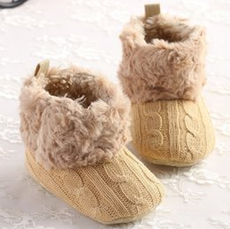 Wholesale Christmas Infant Baby Girls Snow Boots Fur Knitted Wool Thicken Warm Toddler Boy Girl First Walker Shoes Infant Boots Newborn Shoes