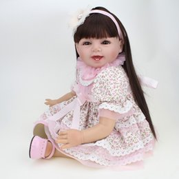 Collectible Dolls Real Baby Silicone Reborn doll 22 Inch Long Hair wigs Handmade Girls Dress For real Life Dolls For Sale