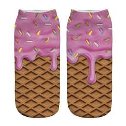 Crème glacée animale à vendre-Gros-2016 Vente chaude 3D Imprimé numérique crème mignon rose glace Femmes Chaussettes Mode Unisexe Mignon Chaussette courtes femmes Low Cut Dress Sock Hot