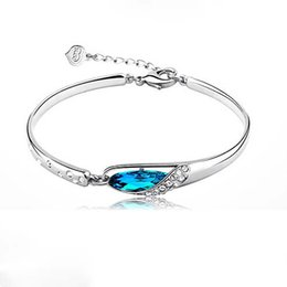 Wholesale Hot Blue Crystal Bangle Glass Shoes Bangle Bracelet For Beading Or Charms Alex And Ani Style Expandable Bangles Accessories Metal Bracelets