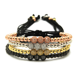 Wholesale 6mm Copper Beads with 8mm Gold, Rose Gold and Platinum Pave CZ Beads Jewelry, Braided Bracelet For Men & Girls