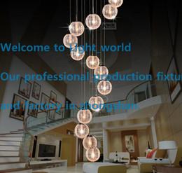 Wholesale Pendant Lamps LED Aluminium Glass Ball Pendant Lamp Stair Bar Droplight Aluminium Pendant Lighting Long Spiral Staircase Lamp Droplight