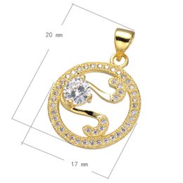 Sweater Chain Charm CZ Micro Pave Copper Pendant Flat Round Plated More Colors For Choice 20x17mm Hole:About 3.5mm 10 PCS Lot