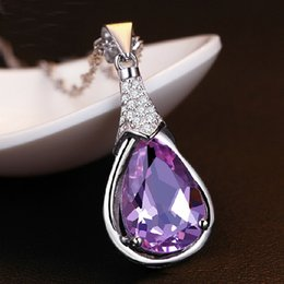 925 silver necklace Amethyst Zircon Korean female models pendant Wishing Stone Pendant wholesale jewelry
