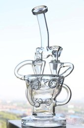 """10"""" Tall Glass Bongs Water Pipes in-line Perc Glass Diffusing Recycler Oil Rigs Glass Bongs 14.4 Joint Size Smoking Pipes Hookahs"""
